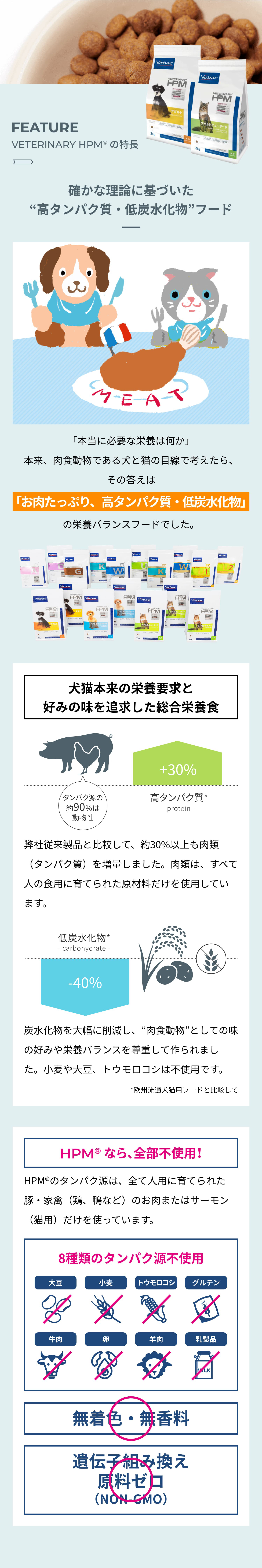 """FEATURE VETERINARY HPM®︎ の特長 確かな理論に基づいた""""高タンパク質・低炭水化物""""フード 「本当に必要な栄養は何か」 本来、肉食動物である犬と猫の目線で考えたら、その答えは「お肉たっぷり、高タンパク質・低炭水化物」の栄養バランスフードでした。 犬猫本来の栄養要求と好みの味を追求した総合栄養食 弊社従来製品と比較して、約30%以上も肉類(タンパク質)を増量しました。肉類は、すべて人の食用に育てられた原材料だけを使用しています。 炭水化物を大幅に削減し、""""肉食動物""""としての味の好みや栄養バランスを尊重して作られました。小麦や大豆、トウモロコシは不使用です。 *弊社従来製品と比較して HPMなら、全部不使用! HPMのタンパク源は、全て人用に育てられた豚・家禽(鶏、鴨など)のお肉またはサーモン(猫用)だけを使っています。8種類のタンパク源不使用 無着色・無香料 遺伝子組み換え原料ゼロ(NON-GMO)"""