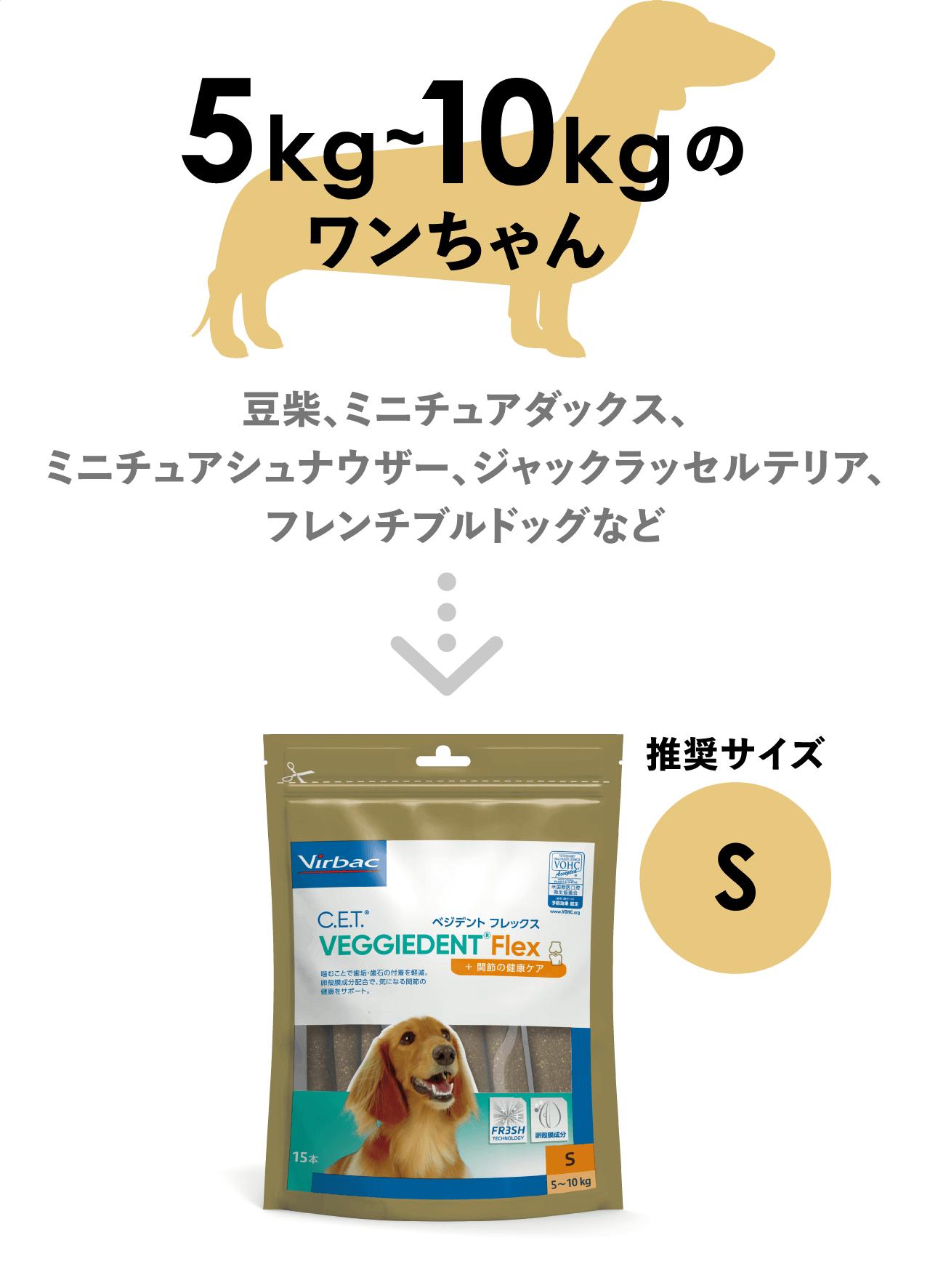5kg〜10kgのワンちゃんの推奨サイズS